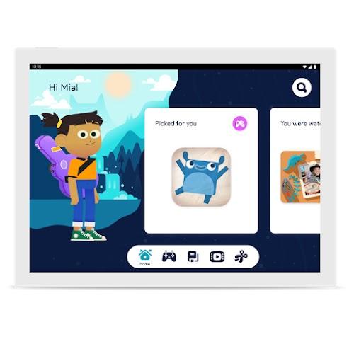 En skærm, der viser Google Kids Space med en animeret pige og en udvalgt app, der har et appikon med et hoppende væsen.
