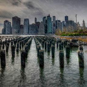Rainy Day Manhattan  by Chad Weisser - City,  Street & Park  Skylines ( brooklyn bridge, mnahattan, weisser photography, manhattan bridge, nyc, pwcskylines )