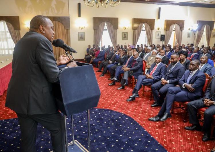 President Uhuru Kenyatta addresses attendees after receiving the BBI report on Tuesday, November 26, 2019.
