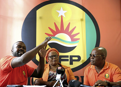 OUTSPOKEN: NFP deputy national chairman Bheki Gumbi, NFP deputy president Sindi Mashinini-Maphumulo and NFP national chairman Bhungu Gwala at a media briefing in Durban