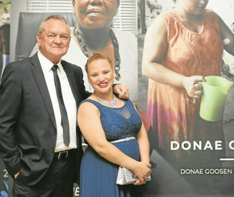 Isringhausen'S Gordon Thompson, left, donated R10,000 to Local Heroes finalist Donae Carelse
