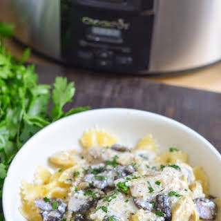 Creamy Crock-pot® Slow Cooker Chicken With Mushrooms and Artichokes.