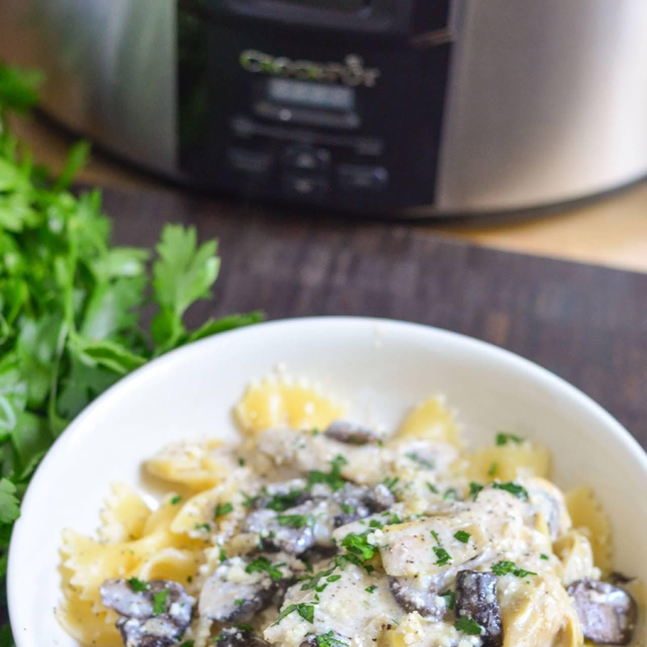 Creamy Crock-pot® Slow Cooker Chicken  next Mushrooms and Artichokes