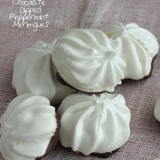 Chocolate Dipped peppermint Meringues.
