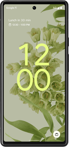A smartphone displaying the new Android 12 dynamic lock screen.