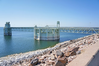 Photo: Water flows out of Lake McConaughy through the Morning Glory tower, where we headed next.