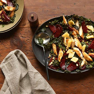 Orange-Chicken Salad with Roasted Kale and Beets.
