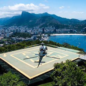 Helicopter by Gonzalo Ruiz - Transportation Helicopters ( helicopter, pan de azucar, rio de janeiro )