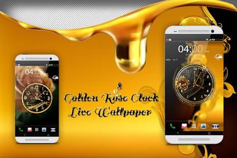 Golden Rose Clock Live Wallpaper - náhled