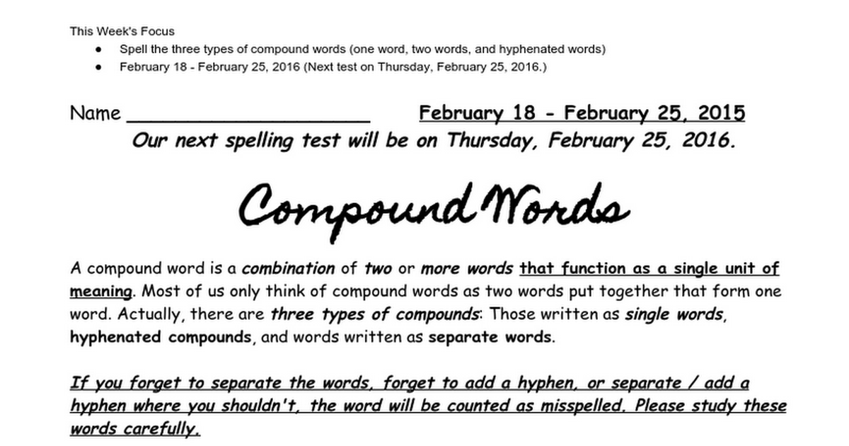 Lesson 19 - Three Types of compound words - Google Docs