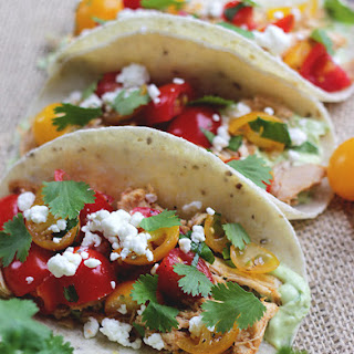 Chicken and Cherry Tomato Tacos with Avocado Crema