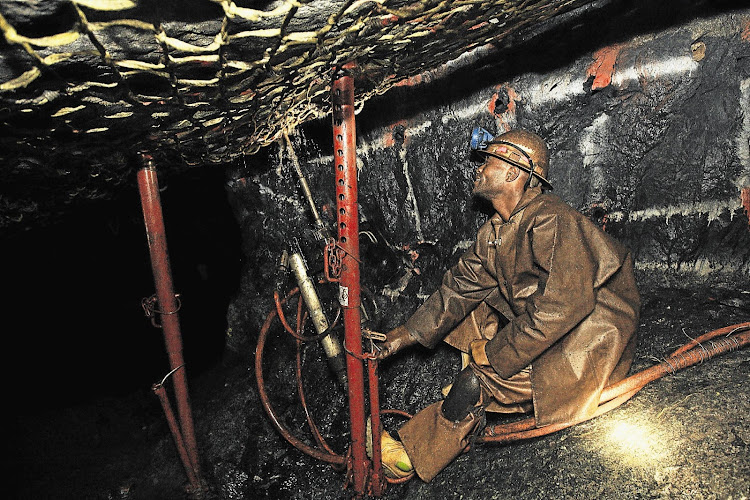 Underground drilling at a platinum mine. File Photo.