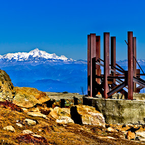 Mist of Ruin by Sudipto Ghosh - Landscapes Mountains & Hills ( ice peak, mountain, blue, ruin, rocky, rock, mountain top )