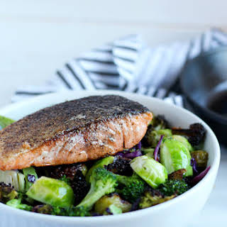 Crispy Pan-Seared Salmon + Charred Broccoli and Brussel Sprouts.