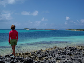 Photo: Anne looking out upon C'est la Vie from Soldier Cay