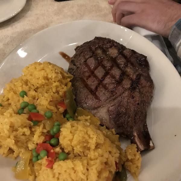 Ribeye with yellow rice