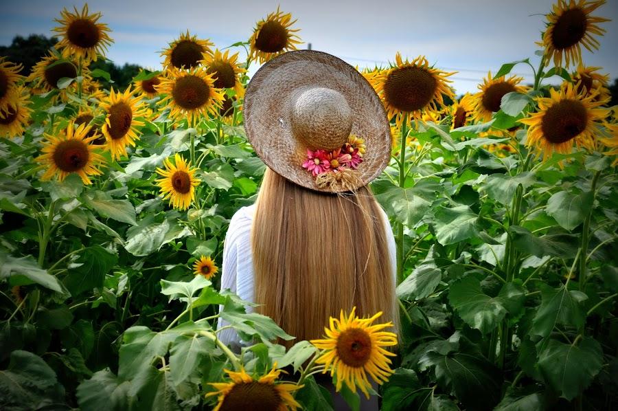 ~Sunflower beauty~ by Michelle Chamblee - People Portraits of Women ( girl, nature, sunflowers, flowers, garden,  )