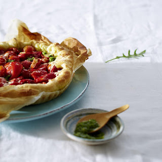 Tomato Pepper Tart with Cashew Pesto