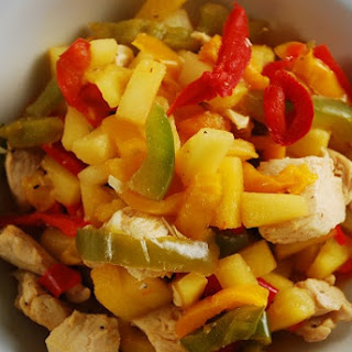 Pineapple Chicken Stir Fry with Bell Peppers.
