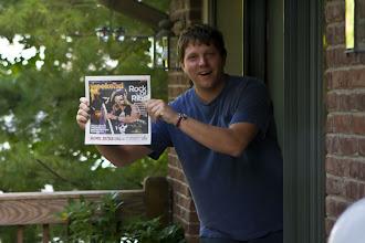 Photo: Jim really likes the Indianpolis newspaper!