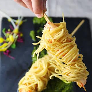 Deep Fried Shrimp Skewers Wrapped in Spaghetti (Gluten Free).