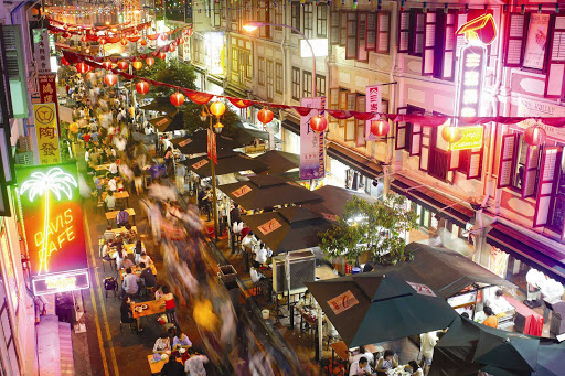 The bustling Chinatown at the center of Singapore.
