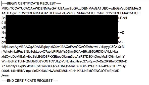 証明書署名要求をダウンロードしCSRを取得