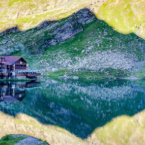 reflexion by Gabi Radoi - Landscapes Mountains & Hills ( water, mountain, nature, sharp, shadow, green, lake, travel, shape, chalet, reflexion )
