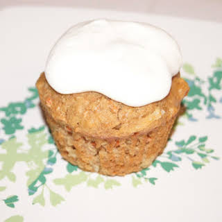 Carrot Cake Cupcakes with Cream Cheese Whipped Cream.