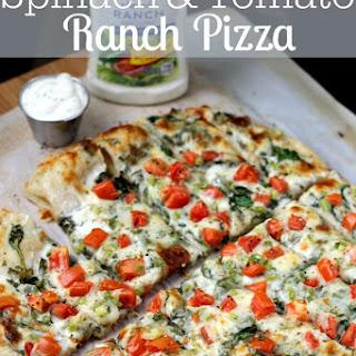 Spinach & Tomato Ranch Pizza.