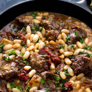 Braised Short Ribs With Black Eyed Peas and Cannellini Beans In A Chipotle Beef Gravy.