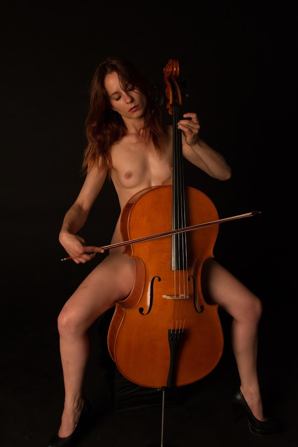 Playing V by Mario Horvat - Nudes & Boudoir Artistic Nude ( breast, black background, musical instrument, girl, violoncello,  )