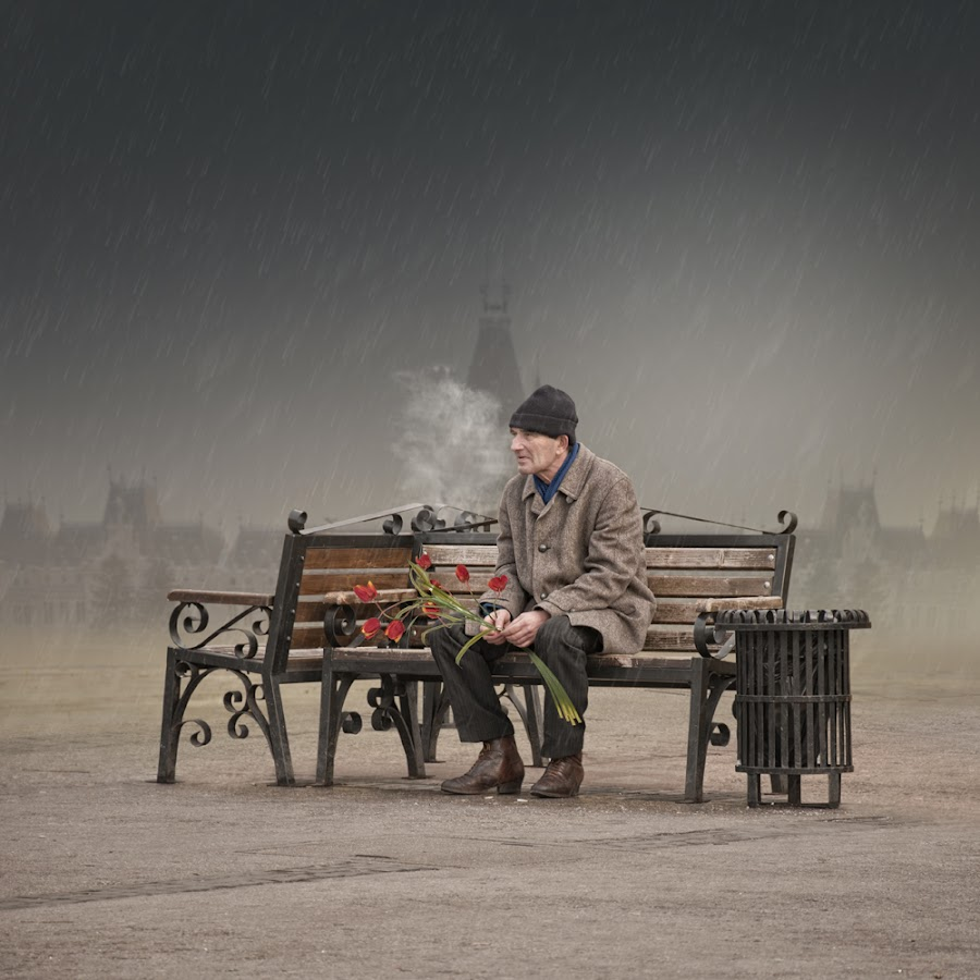 I love you same much as in the first day when i meet you by Caras Ionut - Digital Art People ( rose, bench, alone, man, light pole, flower, steam )