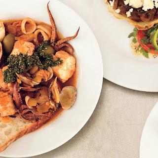 Clam and Calamari Seafood Stew with Salsa Verde