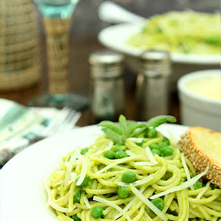 Spaghetti with Pea and Pine Nut Pesto.