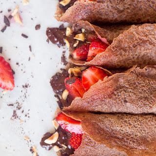 Vegan Chocolate Crêpes With Hazelnut Filling And Strawberries