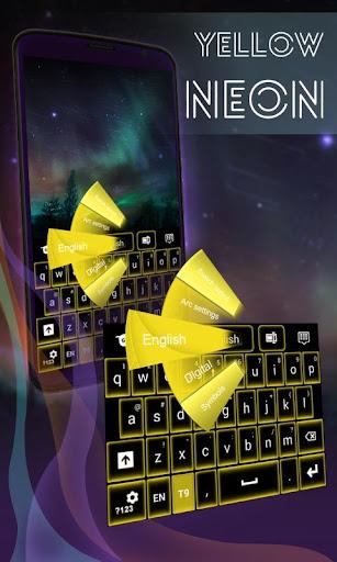 黄色的霓虹灯键盘GO