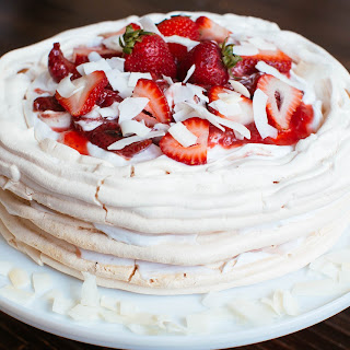 Roasted Strawberry Pavlova Cake with Coconut Cream