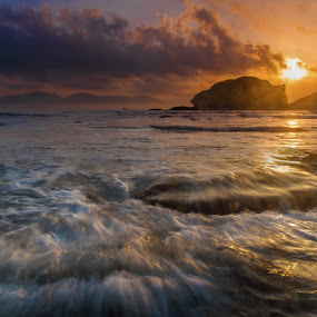 a day without sunrise, is like a day without you *music* by Vincent Wikardo - Landscapes Sunsets & Sunrises ( indonesia, beach, sunrise, landscape, papuma )