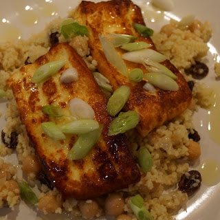 Fried Halloumi with chickpea and lime couscous.