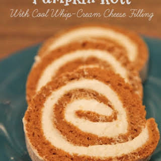 Pumpkin Roll With Cool Whip-Cream Cheese Filling.