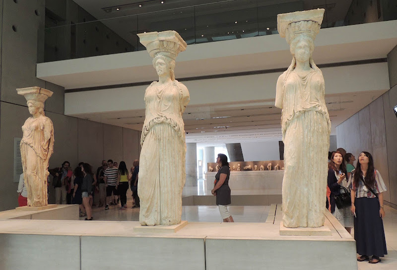 Statues from Greece's classical era at the Acropolis Museum in Athens.