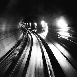 My view, underground train tunnel. by Serena Yong - Transportation Railway Tracks