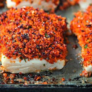 Baked Fish With Chorizo Crust.