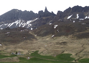 Photo: Most of Iceland's mountains are short and flat or rounded.  This area actually had a sawtooth look and were higher.