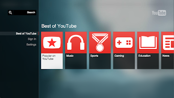 screenshot of YouTube for Google TV