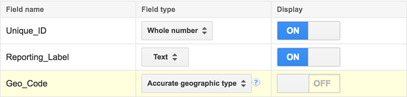 Setting data types - accurate geographic type