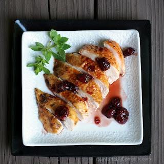 Roast Chicken with Cherry Balsamic Glaze.