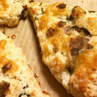 Roasted Jalapeno, Garlic, and White Cheddar Savory Scones Recipe with Smoked Sea Salt.