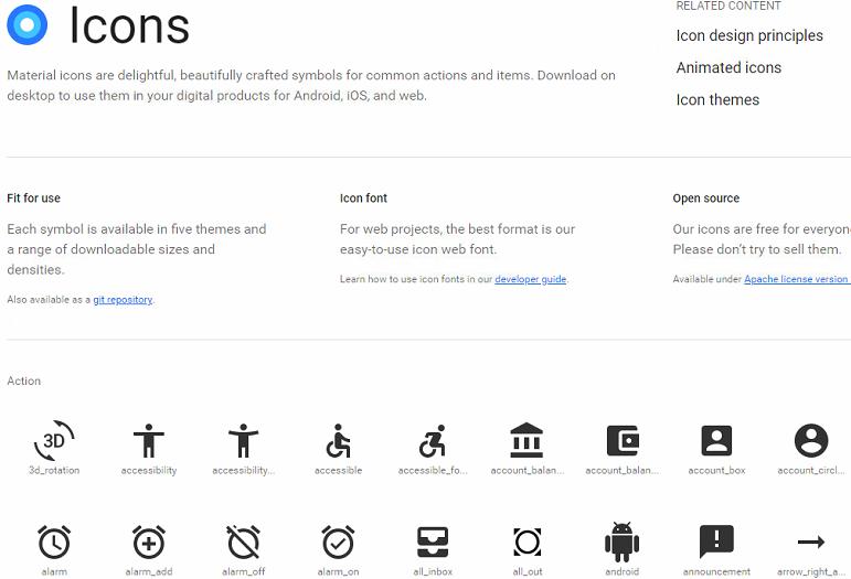 Agregar Google material icons fonts en HTML
